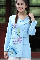 Hand-Painting Lotus Long-sleeve Chinese Ethnic Blouse (Ready-Made)