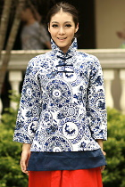 Ethnic Long-sleeve Floral Printing Daul-layer Blouse