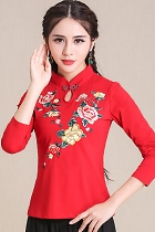Ethnic Floral Embroidery Long-sleeve Blouse - Red (RM)