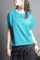 Ethnic Short-sleeve Round Collar Blouse (CM)