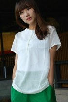 Ethnic Short-sleeve Blouse (CM)
