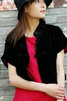 Ethnic Short-sleeve Velvet Short Blouse (CM)
