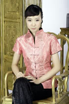 Short-sleeve Embossed Embroidery Mandarin Blouse (Orange)