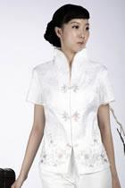 繡花中式短袖上衣(白色)