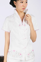 Short-sleeve Floral Embroidery Mandarin Blouse (White)