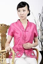 浮雕繡花中式短袖上衣(玫紅)