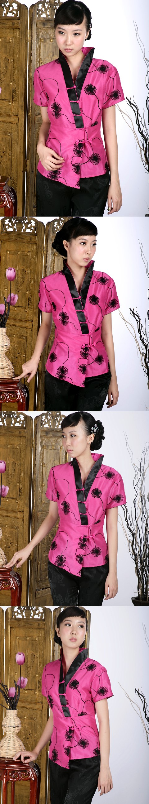 Short-sleeve Embossed Embroidery Hanfu Collar Mandarin Blouse (Fuchsia)