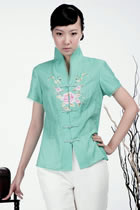繡花中式短袖上衣(水綠)