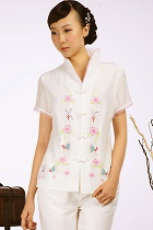 Short-sleeve Floral Embroidery Mandarin Blouse (Beige)