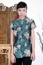 浮雕繡花中式斜襟短袖上衣(綠色)