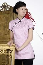繡暗花中式斜襟短袖上衣(淺紫羅蘭)