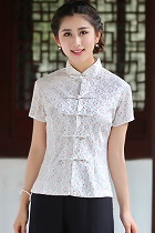 Short-sleeve Chinese Ethnic Lace Blouse (Ready-Made)