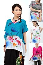 Ethnic Short-sleeve Hand-Painting Blouse