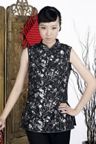 Sleeveless Floral Mandarin Blouse (Black)