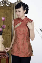 繡唐詩中式無袖上衣(鐵鏽紅)