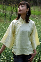 Ethnic 3/4-Sleeve Standing Collar Blouse (CM)