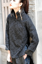 Ethnic Long-sleeve Embroidery Gauze Dual-layer Blouse (CM)