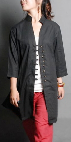 Ethnic 3/4-sleeve Cotton Linen Long Blouse/Jacket (CM)