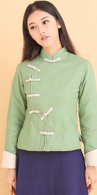 Trendy Ethnic Linen Wadded Jacket (RM)