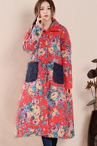 Trendy Ethnic Long Cotton Wadded Coat (RM)