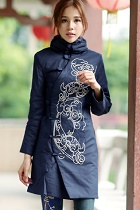 Trendy Ethnic Emboss Thin Wadded Coat (RM)