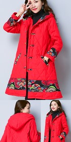 Trendy Ethnic Embossed Wadded Coat w/ Hood (RM)