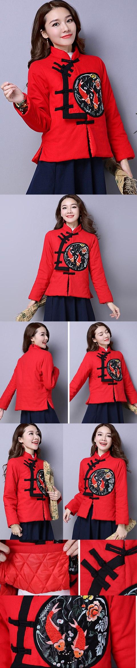Trendy Ethnic Embroidery Wadded Jacket (RM)