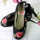 Embroidery Shoes w/ Lace - Black
