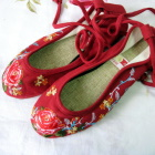 Embroidery Shoes w/ Lace - Dark Red