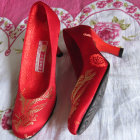 Bargain - High Heel Phoenix Embroidery Shoes (Red)