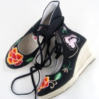 Wedge Heel Mudan Peony Embroidery Boots (Black)