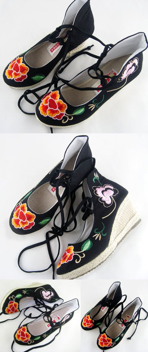 Wedge Heel Mudan Peony Embroidery Boots (Black)
