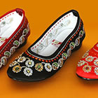 Bargain - Low Heel Floral Embroidery Beaded Shoes