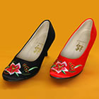 High Heel Lily Embroidery Shoes (Multicolor)