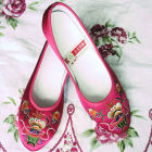 Mid Heel Floral Embroidery Shoes (Multicolor)