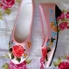 Mid Heel Mudan Peony Embroidery Shoes (Multicolor)
