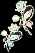 Rhinestone and Pearl Floral Brooch