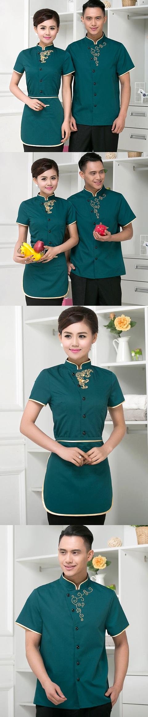 Mandarin Style Restaurant Uniform-Top (Green)