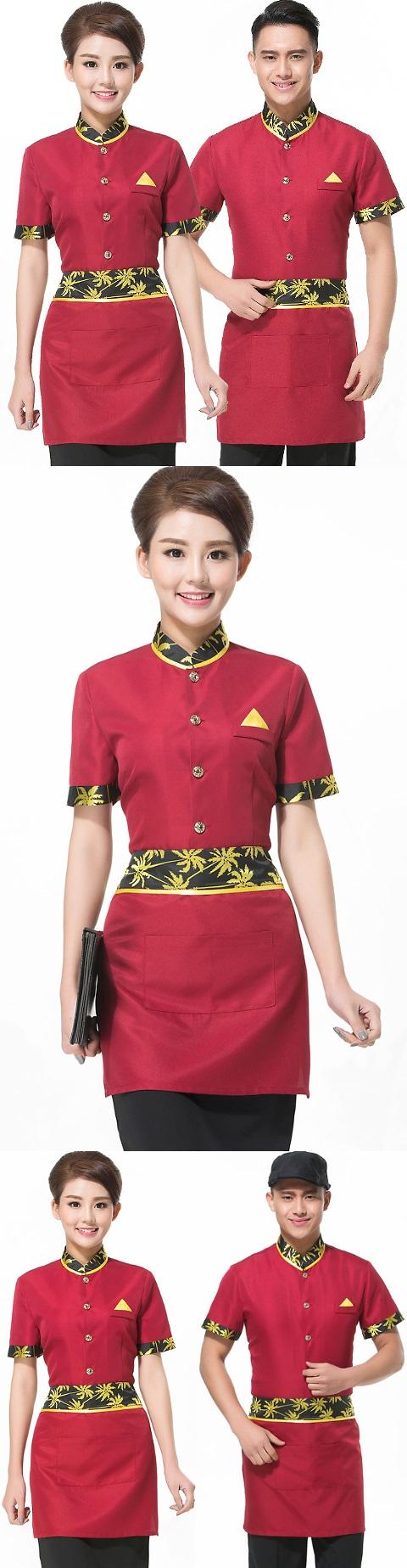Mandarin Style Restaurant Uniform-Top (Crismon)