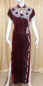 Short-sleeve Long-length Cheongsam - Burgundy (RM)