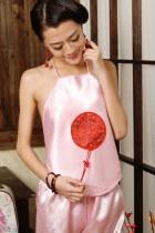 Silky Embroidery Tassel Halter Top (RM)