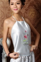 Silky Floral Embroidery Halter Top (RM)