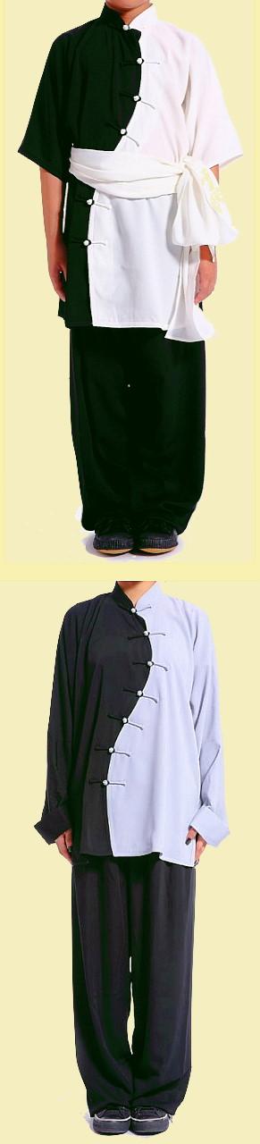 Wave-shape Lapel Dual-color Kung Fu Suit (CM)