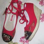 Mudan Peony Embroidery Wedge Heel Shoes (Red)