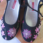 Embroidery Wedge Heel Shoes (Black)