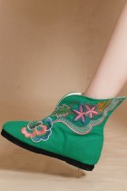 Low Heel Floral Embroidery Mid Height Boots (Green)