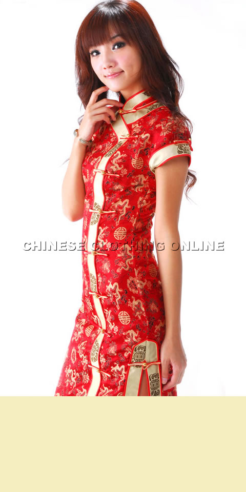 606da0c73d2bd Short-sleeve Long-length Cheongsam (CM)  WQPCDX-461-BC