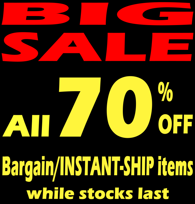 70% OFF for BARGAIN ITEMS