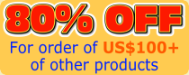 80% OFF for order of USD100+