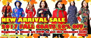 NEW ARRIVAL SALE: EXTRA 20% OFF for 2017 FALL COATS on top of other built-in discounts. Valid until Sep-30.